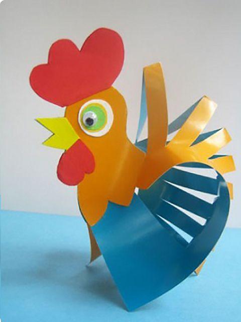 Петушок своими руками из картона и цветной бумаги