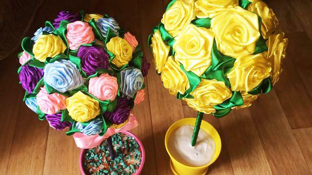 Розы из лент букет