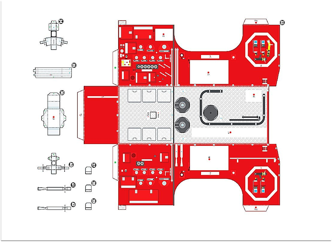 пожарная машина из картона инструкция пошагово