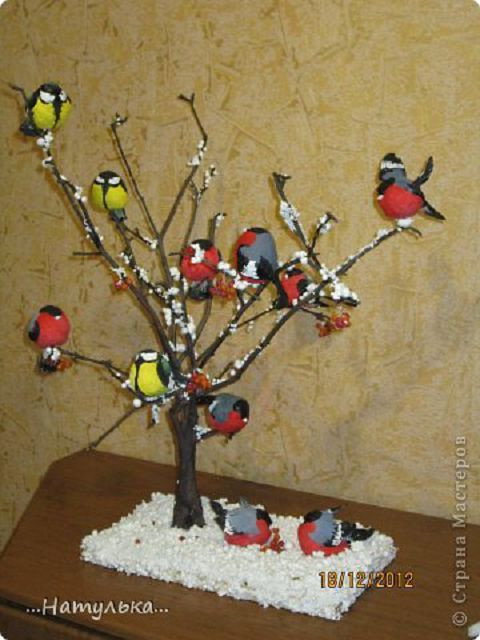 Поделки птички на ветке