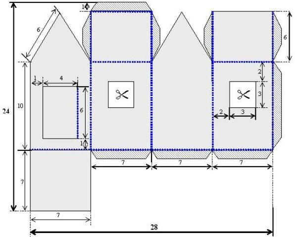 Схема как сделать домик из картона своими руками