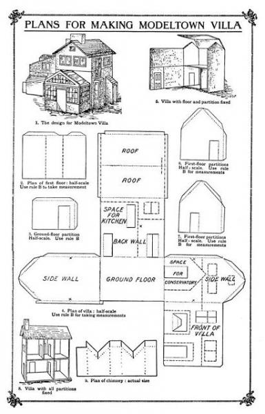 Схема детского домика из картона