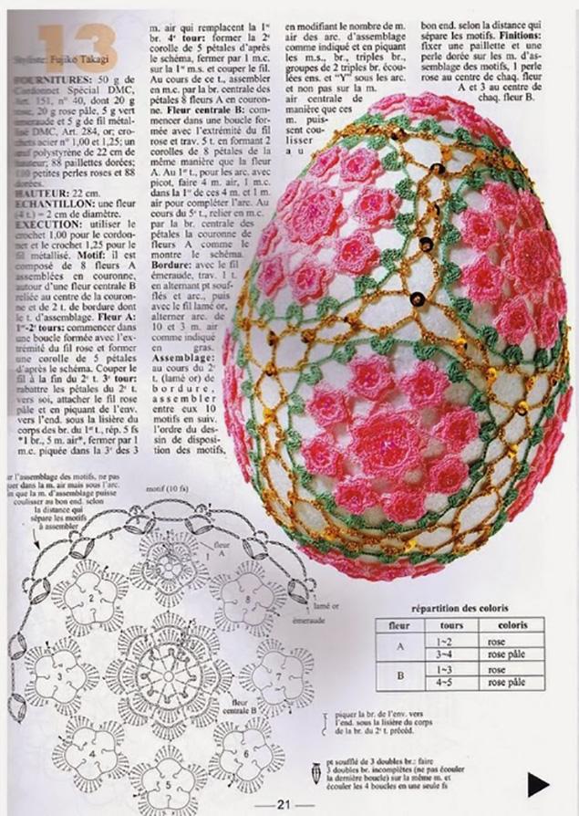 Схемы для вязания крючком пасхальное яйцо 423
