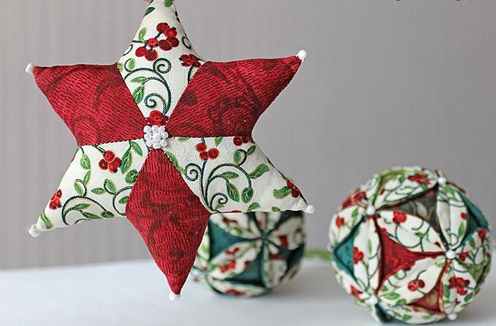 елочные игрушки из ткани пэчворк