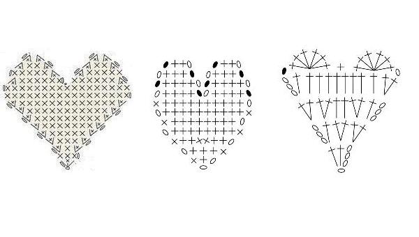 сердце крючком схема сердце