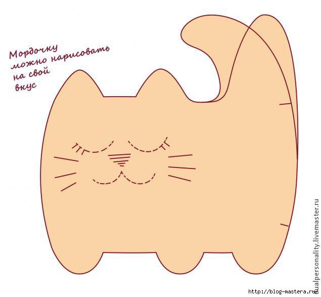 Выкройки котов подушек из ткани