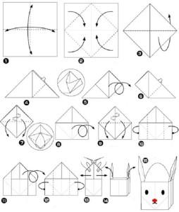 заяц оригами схема