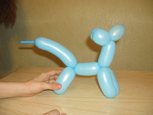 Как поэтапно можно сделать собачку из шарика колбаски?