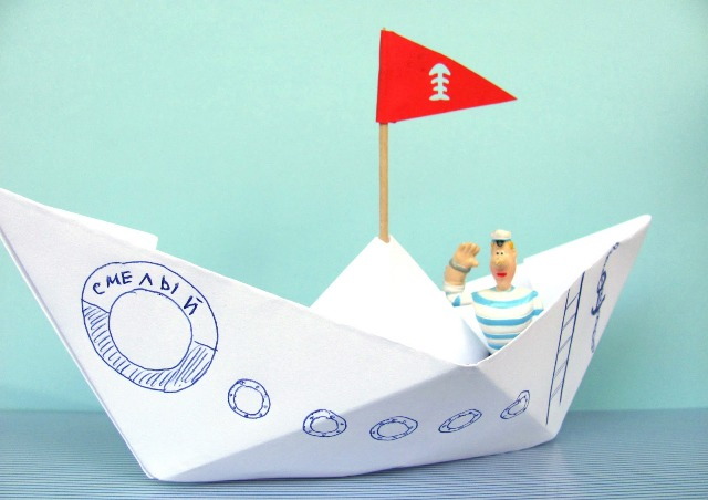 корабль из бумаги и картона-7