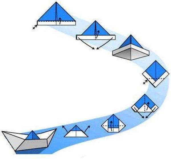 кораблик из бумаги - схема