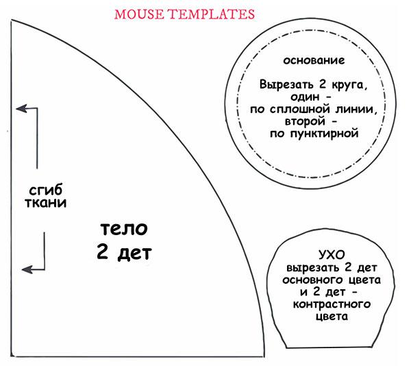 выкройка мыши из ткани