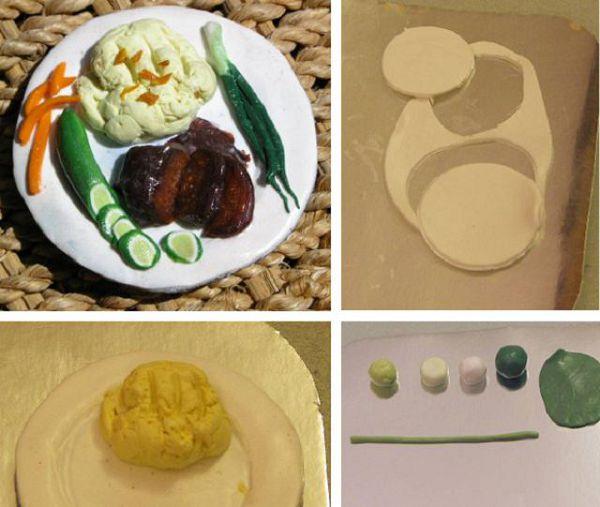 тарелка и лук и пюре