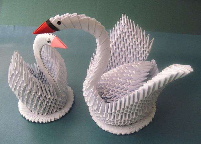 Как сделать белого лебедя из бумаги