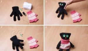 Как сделать кошку из перчатка