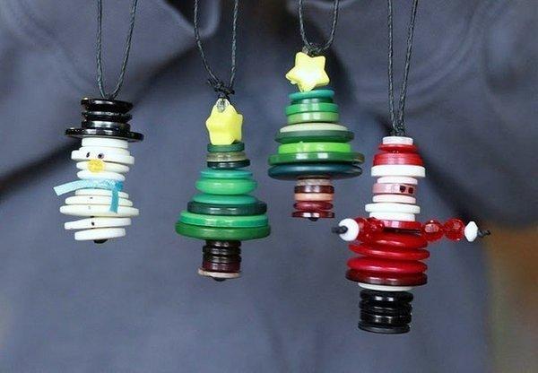 Елочные игрушки из пуговиц