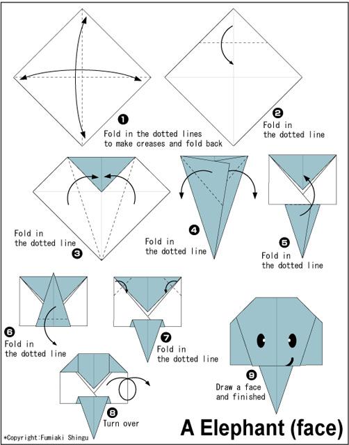 Оригами слон по схеме