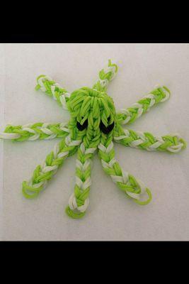 осьминок зеленый с белым из резиночек