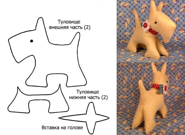 Фетровая собачка с цветочком