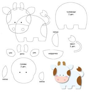 Бычок и коровка из фетра-2