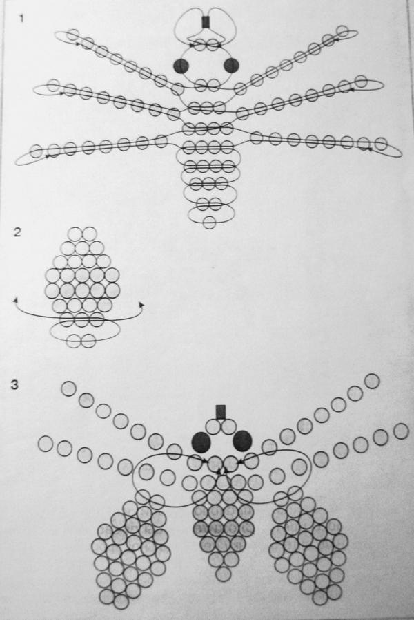 Жучки из бисера схема плетения для начинающих7