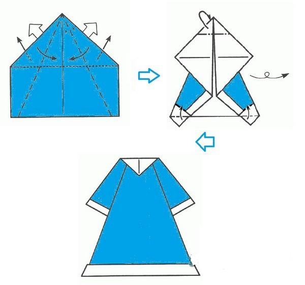Открытка дед мороз своими руками из бумаги оригами, днем рождения няшные