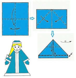 Снегурочка оригами-6