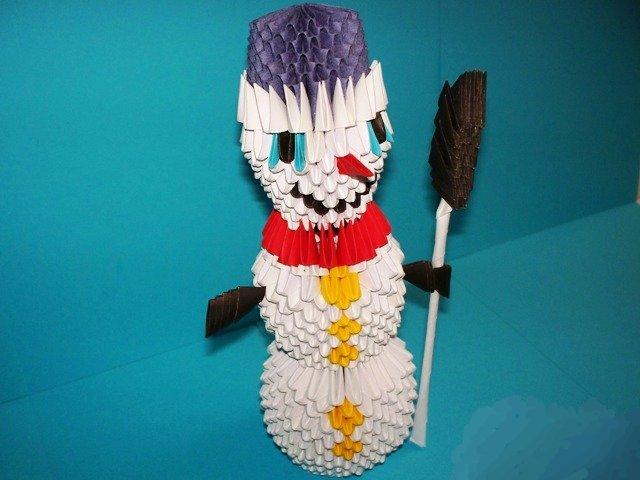 Делаем снеговика оригами, модульное оригами снеговик, мастер класс / Игрушки своими руками, выкройки, видео, МК