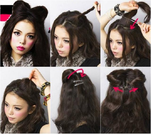 Ушки из волос