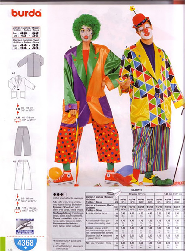 Выкройки костюма клоун