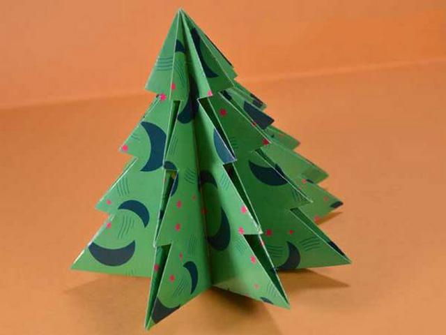 Елка оригами-9
