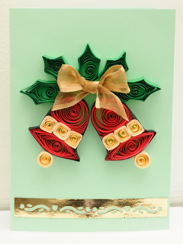 Квиллинг открытка новый год рождество