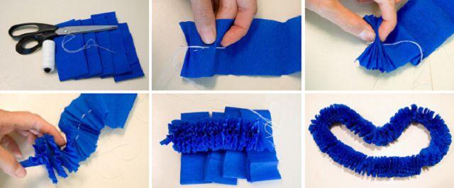Гавайские гирлянды из гофрированной бумаги