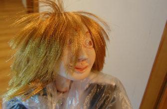 Как делать волосы из атласных лент для кукол