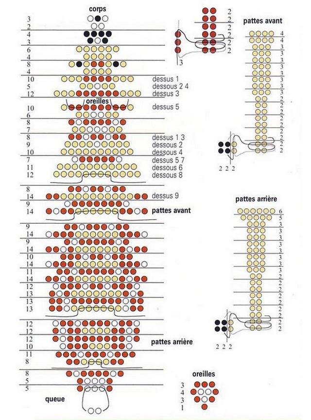 Схема оленя из бисера