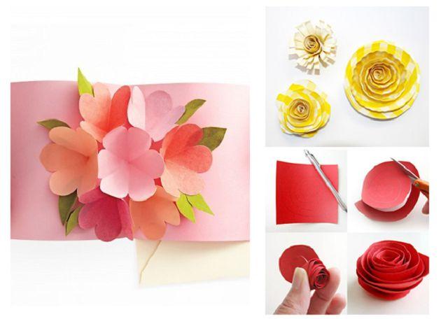 Поделки из бумаги  с цветами открытки 139