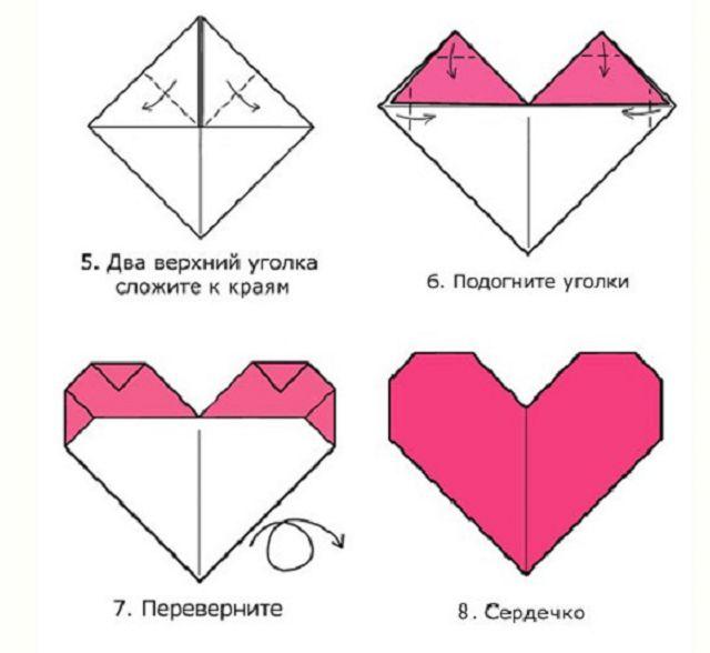 Сердечко из бумаги оригами открытка