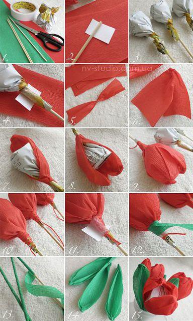 Как сделать розу из гофрированной бумаги видео фото 337