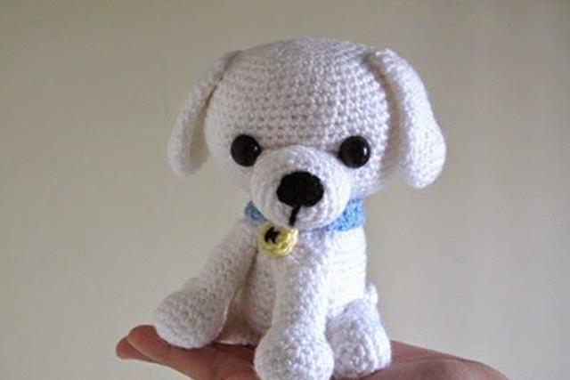 Мастер класс Маленький белый щенок амигуруми крючком