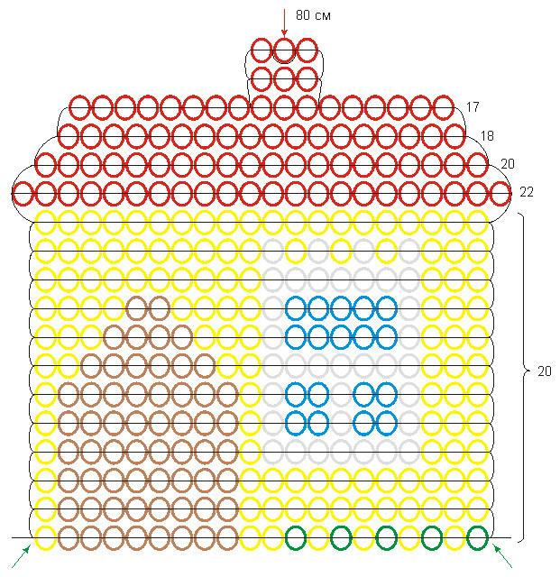 Домики из бисера схемы