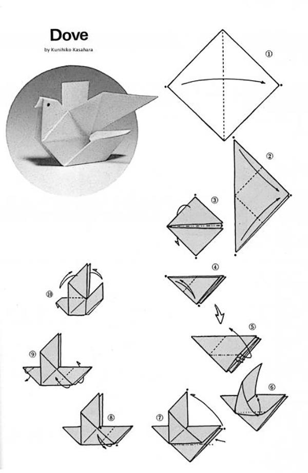 голубь простой оригами 1