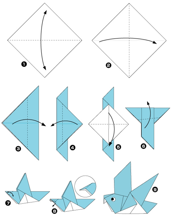 голубь оригами схема