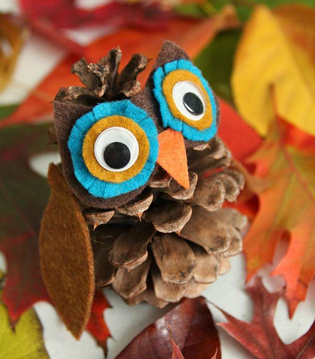 5-3 Поделки из шишек на тему осень. Совы, ежик и многое другое
