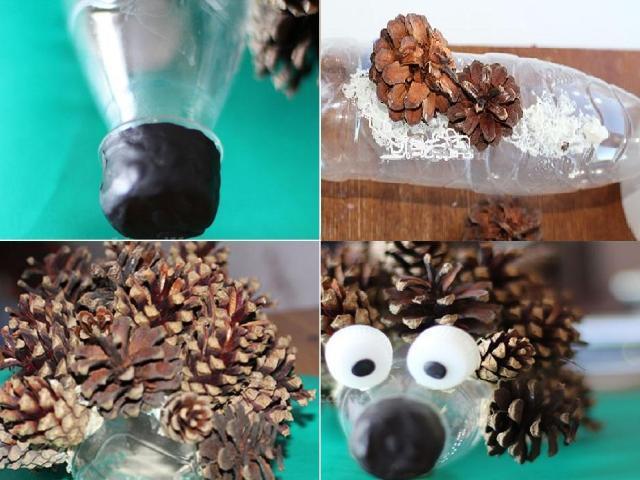 ezh_iz_butylok Поделки из шишек и пластилина для детей, сова из шишки и пластилина своими руками, сова и ежик для ребенка
