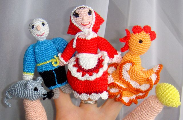 Вязанные куклы на палец для театра