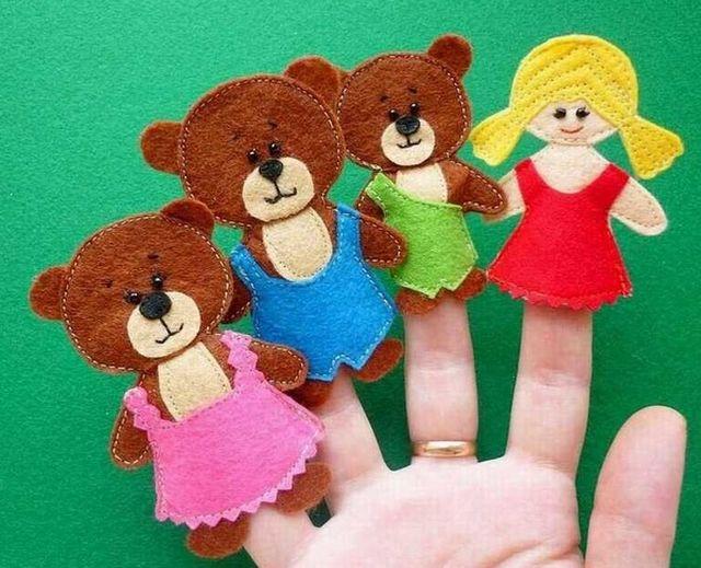 Куклы для сказки Три медведя из фетра шаг 1