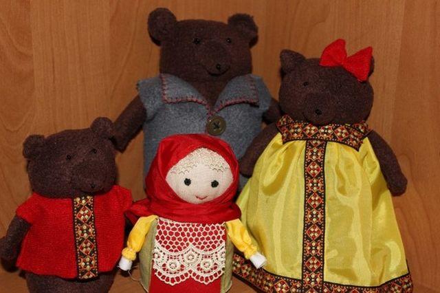 Куклы для сказки Три медведя из флиса шаг 1