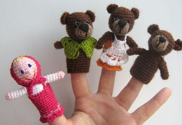 Куклы для сказки Три медведя вязанные шаг 1