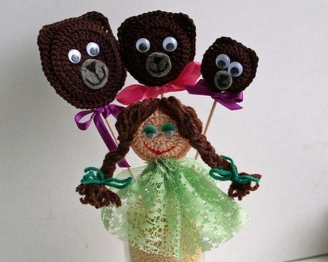 Куклы для сказки Три медведя вязанные шаг 2
