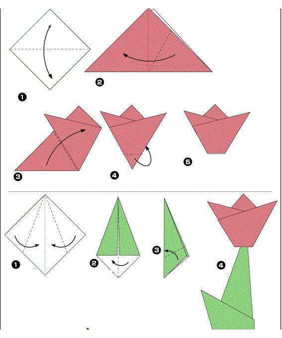 Схема создания цветка оригами