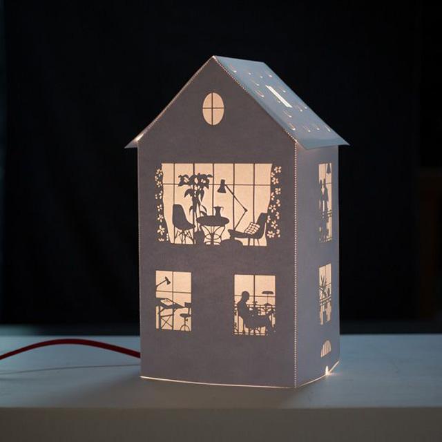 домик из бумаги с подсветкой